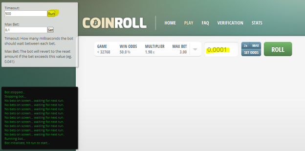 Martingale Bot for CoinRoll.it